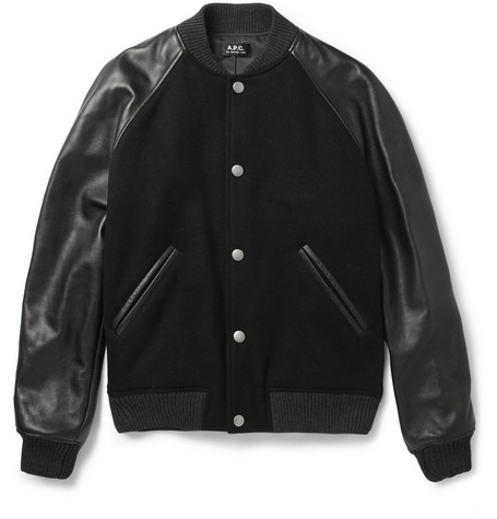 A.P.C. Leather-Sleeved Wool-Blend Bomber Jacket