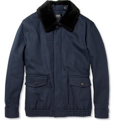 A.P.C. Shearling-Collar Cotton-Blend Bomber Jacket