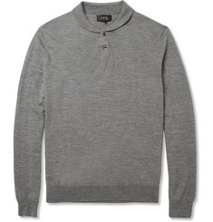 A.P.C. Long-Sleeved Knitted Wool Polo Shirt