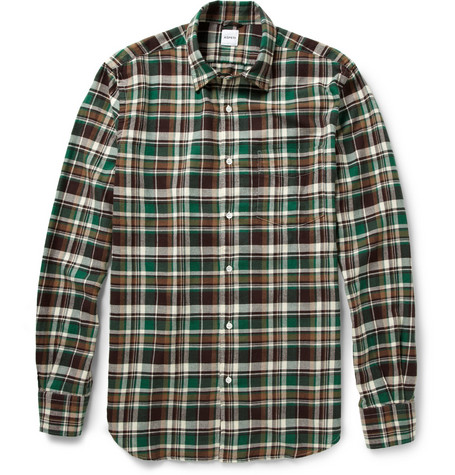 Aspesi Madras Check Cotton-Blend Flannel Shirt