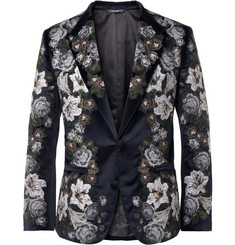 Dolce & Gabbana Slim-Fit Embroidered Velvet Blazer