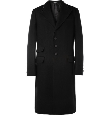Dolce & Gabbana Contrast-Collar Wool-Blend Overcoat