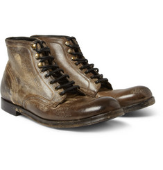Dolce & Gabbana Distressed-Leather Lace-Up Boots