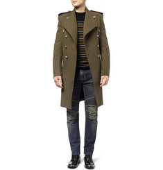 Balmain Double-Breasted Wool and Cotton-Blend Coat
