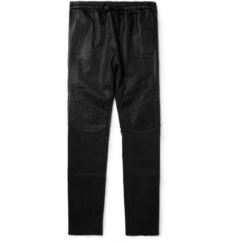 Balmain Slim-Fit Leather Biker Sweatpants