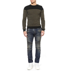 Balmain Metallic-Striped Wool-Blend Sweater