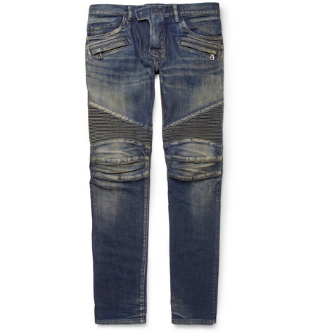 Balmain Slim-Fit Distressed Biker Jeans