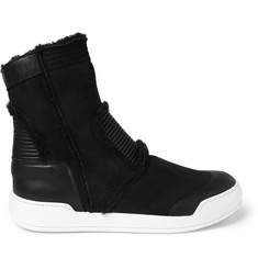 Balmain Shearling High Top Sneakers