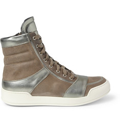 Balmain Metallic-Leather and Suede High Top Sneakers