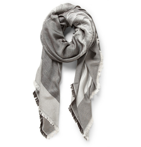Balmain Dragon-Patterned Silk and Cashmere-Blend Scarf