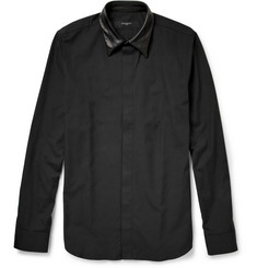 Givenchy Leather-Collar Cotton Shirt