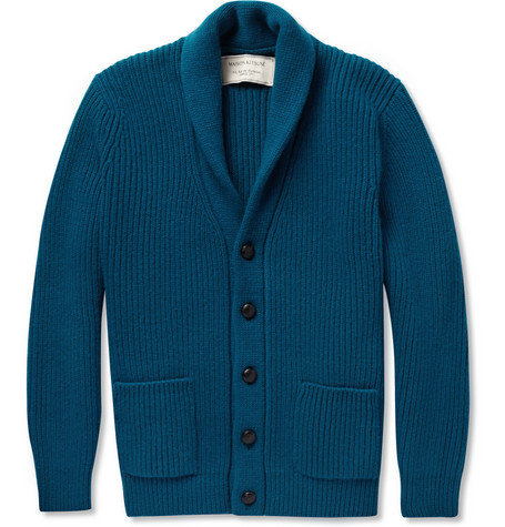 Maison Kitsuné Ribbed-Knit Shawl Collar Cardigan