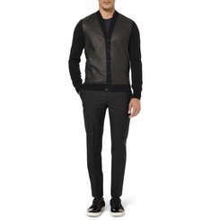 Bottega Veneta Leather-Panelled Cashmere Cardigan