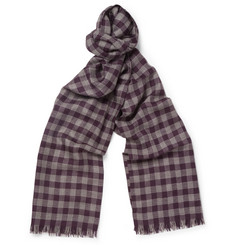 Bottega Veneta Check Wool and Silk-Blend Scarf