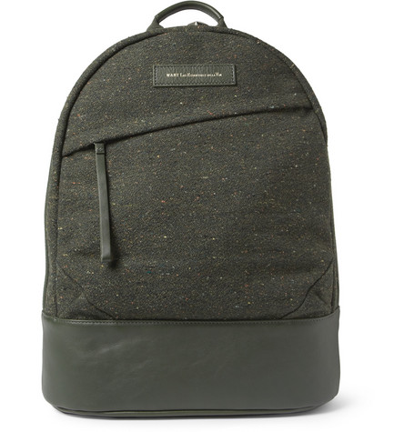 WANT Les Essentiels de la Vie Kastrup Leather-Trimmed Tweed Backpack