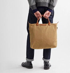 WANT Les Essentiels O'Hare Leather-Trimmed Organic Cotton-Canvas Tote Bag