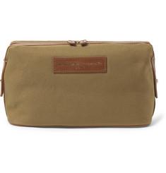 WANT LES ESSENTIELS - Kenyatta Leather-Trimmed Organic Cotton-Canvas Wash Bag