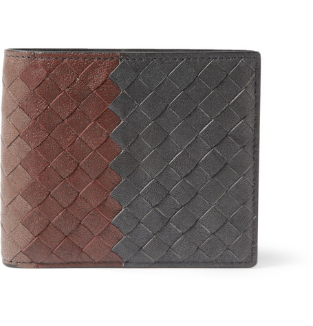 Bottega Veneta Striped Intrecciato Leather Billfold Wallet