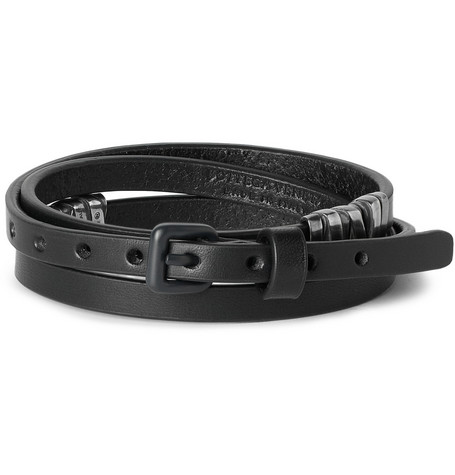 Bottega Veneta Leather and Oxidised Sterling Silver Wrap Bracelet