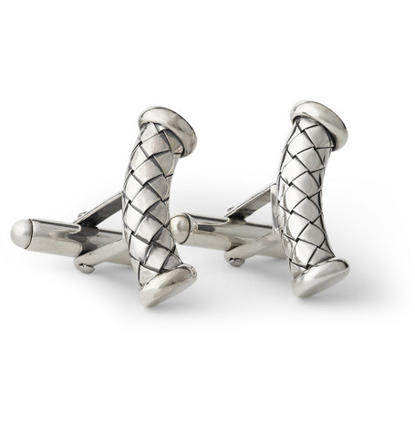 Bottega Veneta Curved Intrecciato-Effect Cufflinks