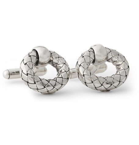 Bottega Veneta Intrecciato-Effect Circle Cufflinks