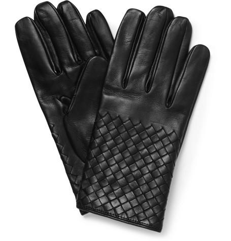 Bottega Veneta Intrecciato Silk-Lined Leather Gloves