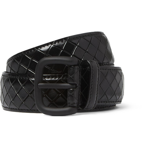 Bottega Veneta Black 3cm Intrecciato-Embossed Leather Belt