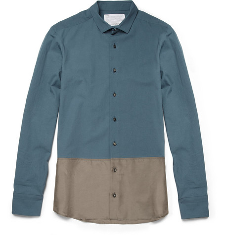 Kolor Slim-Fit Panelled Cotton and Silk Shirt