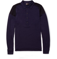 Kolor Panelled Wool-Jersey and Mesh Polo Shirt