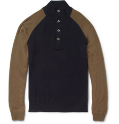 Hartford Slim-Fit Contrast-Sleeve Wool and Cashmere-Blend Sweater