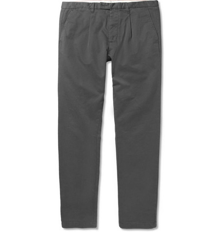 Hartford Tapered Washed Cotton-Twill Trousers