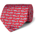 Alfred Dunhill Fox-Print Mulberry Silk Tie