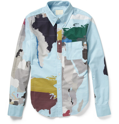 Band of Outsiders Map-Print Cotton Shirt