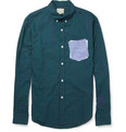 Band of Outsiders Contrast-Pocket Check Cotton Shirt