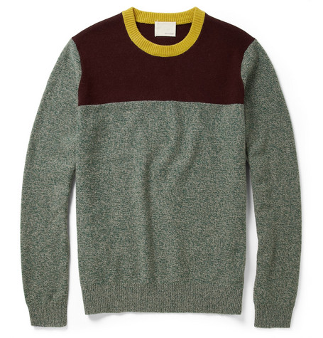 Band of Outsiders Colour-Block Wool Crew Neck Sweater
