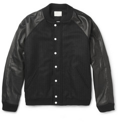 Band of Outsiders Leather and Wool-Blend Bomber Jacket