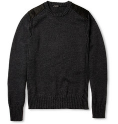 Belstaff Suede-Trimmed Wool Sweater