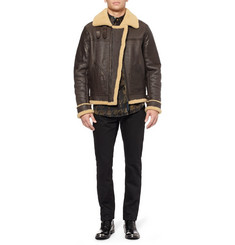 Belstaff GSR Shoreham Shearling-Lined Leather Bomber Jacket