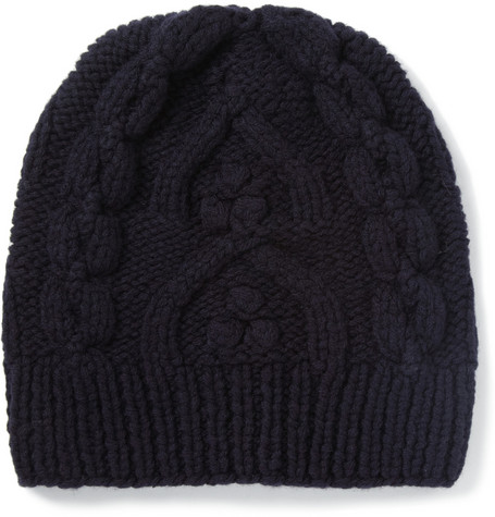 Maison Martin Margiela Cable Knit Wool Beanie Hat