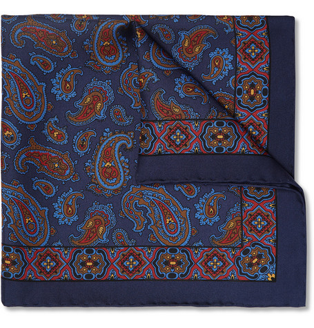 Drake's Paisley Silk Pocket Square