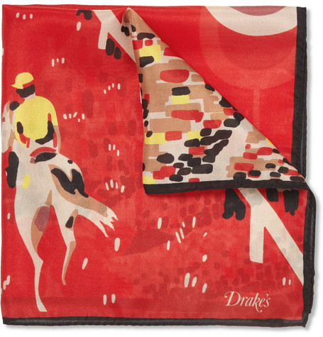 Drake's Horse Race-Print Silk Pocket Square