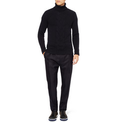 Exemplaire Cable Knit Rollneck Cashmere Sweater