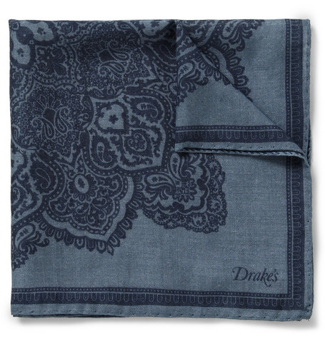 Drake's Paisley-Print Wool And Silk-Blend Pocket Square