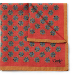 Drake's Floral-Print Wool and Silk-Blend Pocket Square