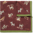 Drake's Dog-Print Wool and Silk-Blend Pocket Square
