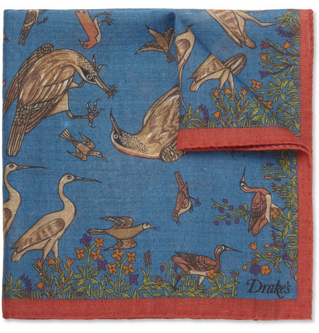 Drake's Bird-Print Wool and Silk-Blend Pocket Square