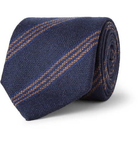 Drake's Striped Cashmere Tie