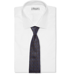 Drake's Embroidered Herringbone Silk Tie