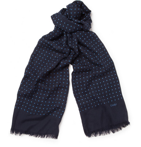 Drake's Polka-Dot Wool and Silk-Blend Scarf
