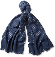 Drake's Spot-Print Wool and Silk-Blend Scarf